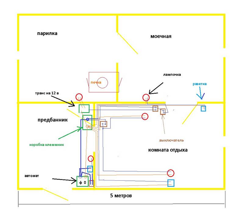 Проводка в баню, схема