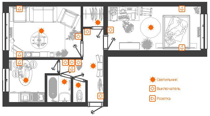 Схема расположения розеток и выключателей в квартире
